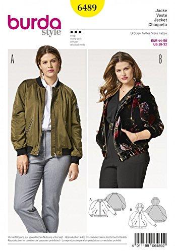 Burda Ladies Plus Size Sewing Pattern 6489 Bomber Jacket & -