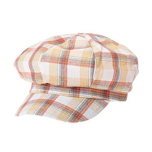 WITHMOONS Newsboy Hat Cotton Beret Cap Bakerboy Visor Peaked Summer Tartan Check Hat SLG1011 (Orange)