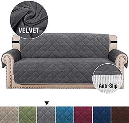 H.VERSAILTEX Ultra Soft Velvet Sofa Covers for Living Room Slip Resistant Quilted Furniture Protector with 2