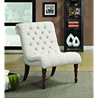 Armless Curved Accent Chair Oatmeal