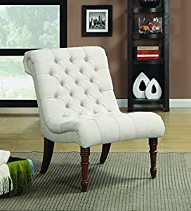 Amazon Com Armless Curved Accent Chair Oatmeal Kitchen