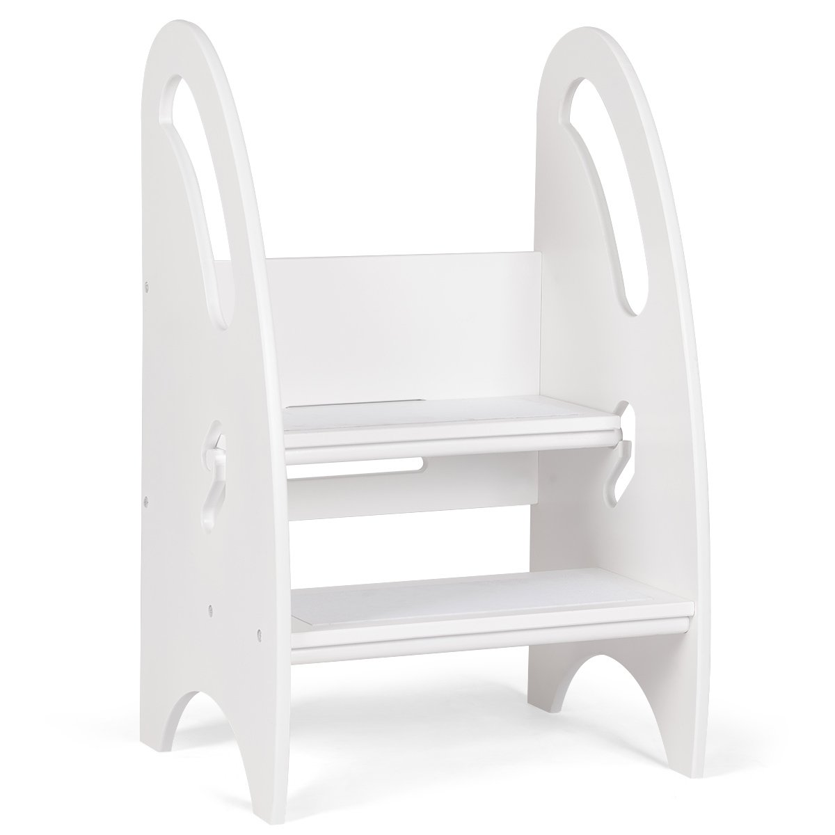 Costzon Toddler Growing Step Stool, Height Adjustable Nursery Footstool for Kitchen Bathroom, Non-Slip Blanket Attached (White)