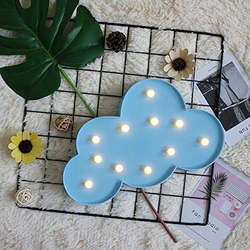 GUOCHENG Blue Cloud Marquee Light Decor LED Night Light Battery Operated Table Lamps for Children Kids Bedroom Nursery Lighting Birthday Christmas Gifts for Kids(Blue Cloud)