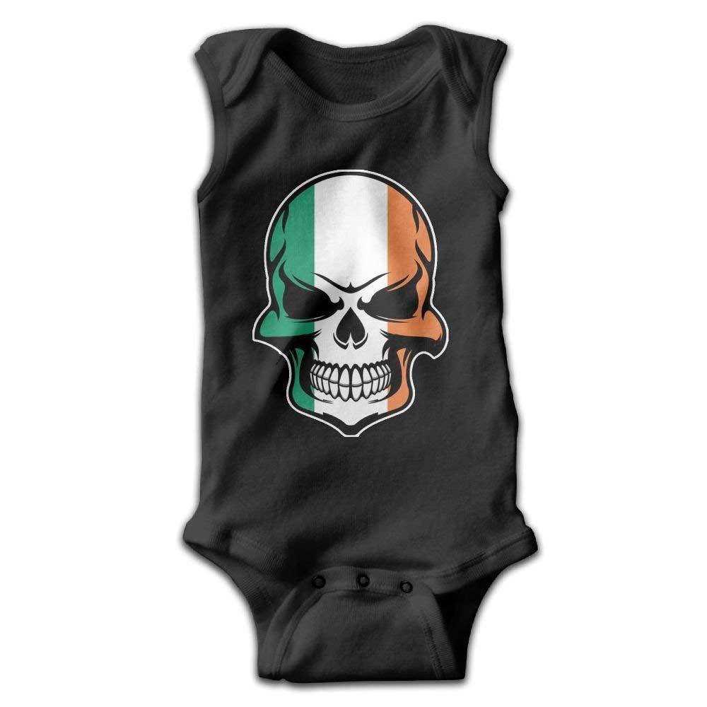 WENYIFANG Irish Flag Skull Infant Baby Sleeveless Bodysuit Romper