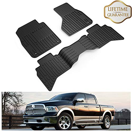 KIWI MASTER Floor Mats Liners Compatible for 2009-2018 Dodge RAM 1500 Quad Cab Front & 2nd Row Seat All Weather Protector TPE Slush Liner Mat ()