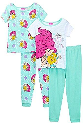 [The Little Mermaid Ariel Girls 4 piece Pajamas Set (4T, Mermaid White/Teal)] (Disney Little Mermaid Flounder Costume)