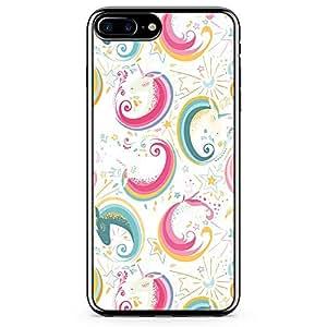 iPhone 8 Plus Transparent Edge Phone case Unicorn Phone Case Pink Unicorn Pattern iPhone 8 Plus Cover with Transparent Frame