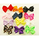 12 Assorted Mini Hair Clip Ribbon Bows for Babies and Little Girls