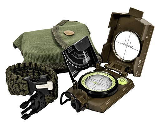 Compass Gear - Northies Combo Pack Military Lensatic Sighting Compass and Paracord Survival Bracelet, Fire Starter, Whistle, Aluminum Alloy, Waterproof, Carrying Bag, Tactical Outdoor Gear for Camping and Hiking