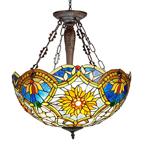 New Legend Tiffany Style Stained Glass 3-Light Hanging Lamp Ceiling Fixture, 21-Inch Wide ()