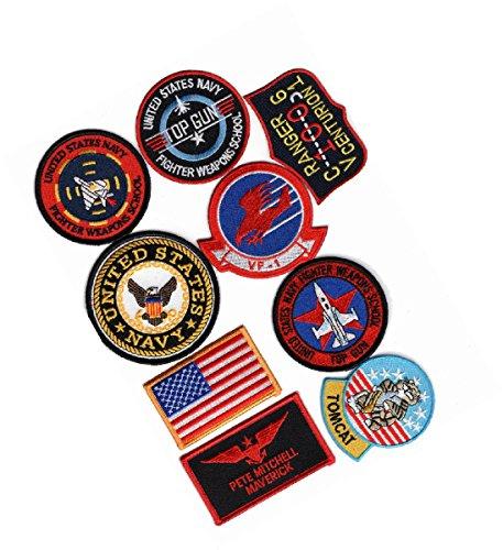 [Top Gun movie Pete Mitchell Maverick Navy Flight Suit 9pc Hook Patch set] (Top Gun Costume Patches)