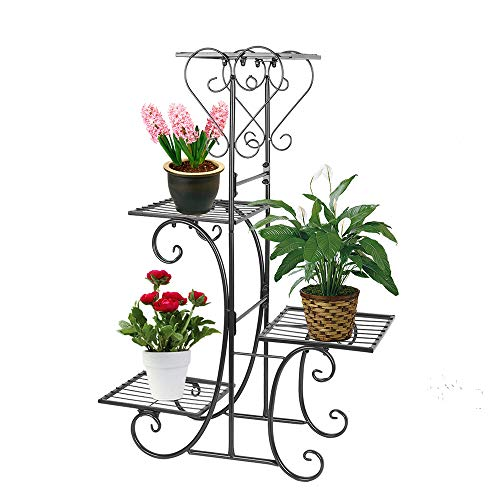Moutik Corner Metal Flower Holder Racks 4 Tier Shelves for Indoor Outdoor Plant Flower Stand Rack Shelf for Multiple Plants,Black (Outdoor Plant Stand Metal)