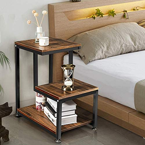 Tangkula Sofa End Table, 3-Tier Nightstand with Storage Shelf, Sturdy Metal Frame, Ladder-Shaped Chair Side Table, Rustic Tabletop Industrial Storage Shelf for Living Room or Bedroom Brown