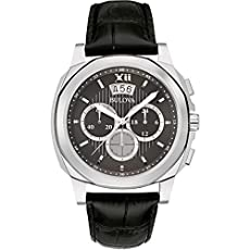 Bulova 96b218 Men's Grey Dial Black Leather Strap Chrono Watch