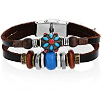 Fashion Leather Dark Brown Bracelet with Charms and Stainless Steel Clasp