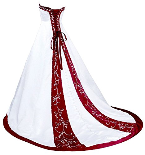 Le Perlage De Broderie Amie Des Femmes Dzdress Une Ligne Longue Robes De Robe De Mariée Rouge