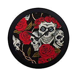 Modern Simple Cotton Skulls Black With White Skulls Red Rose Pattern Wall Clock Indoor Non-ticking Silent Quartz Quiet Sweep Movement Wall Clcok For Office,bathroom,livingroom Decorative 9.65 Inch