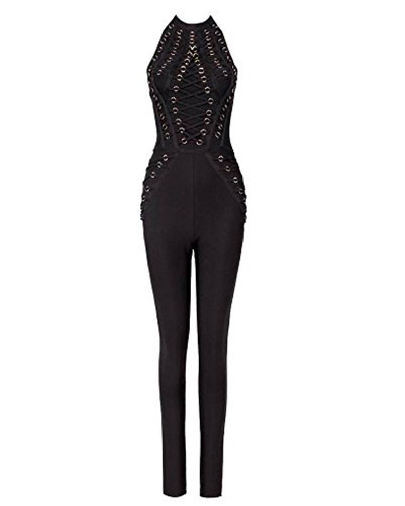 Whoinshop Women's Sleeveless Lace Up Open Back Halter Bandage Pants Club Jumpsuit Romper Black L by Whoinshop