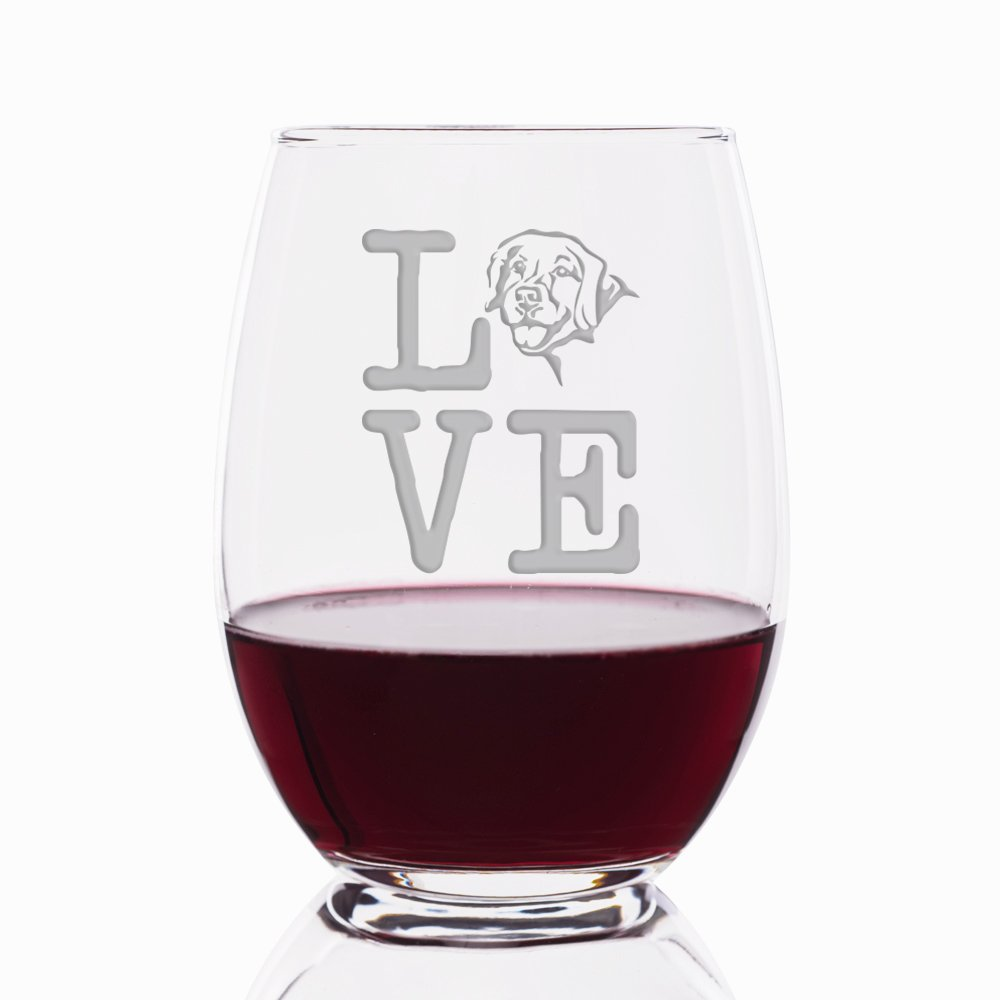 Love Golden Retriever Engraved Stemless 21 oz Wine Glass - 4pcs by Mic & Co