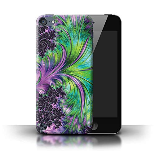 eSwish Phone Case/Cover for Apple iPod Touch 5 / Green/Purple Swirls Design/Neon Colours Collection (Connector Swirl)
