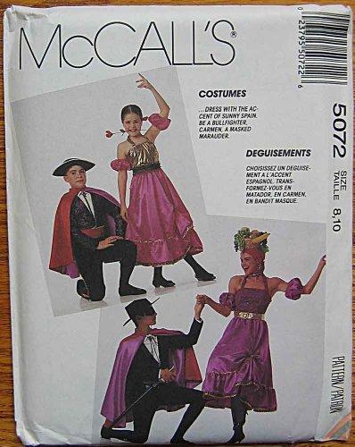 McCall's 5072 Sewing Pattern ~ Children's Costumes, Spanish Bullfighter, Carmen, Senorita, Dancer, Masked Marauder, Zorro, Children's Size (Zorro Girl Costume)