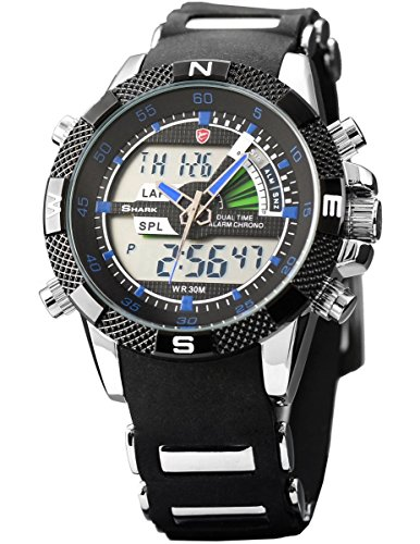 Shark Men's Military Sport Wrist Watch Alarm LCD Dual Time Chronograph Black Army SH044 ()