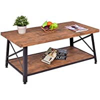 Rectangular Metal Frame Wood Coffee Table with Storage Shelf - By Choice Products