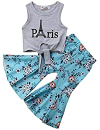 SUPEYA Baby Girls Paris Print Vest Tops Floral Flare Bell-Bottoms Pants Outfits Set