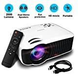 Projector/Projecteur,2017 GooBang Doo ABOX T22 2000 Lumens Mini Portable Projector,Multimedia 1080p HD Home Theater Video Projector Support HDMI USB SD Card VGA AV Input for PC Laptop/PS4/Xbox/Android TV Box etc ¡­