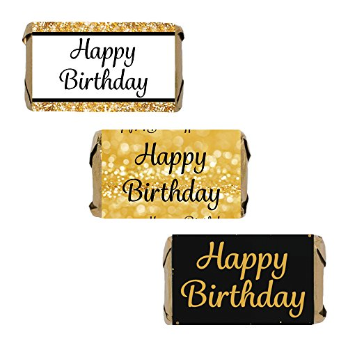 Happy Birthday Party Mini Candy Bar Wrappers, Black and Gold (54 Stickers)