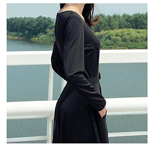 WOMEN DRESS LONG SWEEP MAXI SLEEVE FULL BLACK Black vnCxdqFFU