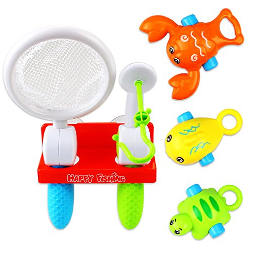 Fishing Bath Toys Set, Dreamaprk Bathtub Fishing Toys with Fishing Pole/Net for Baby Toddler Pool Bath Time - Birthday Gifts for 1 2 3 Years Old Boy Kids Toys