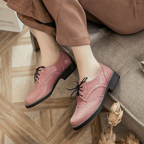 Round Women's Shoes Brogues Low up Top Block Burnished Toe Heel Oxfords Trendy Mofri Pink Low Lace qHdxwSCS