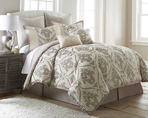 Beige Jacquard Comforter - Amrapur Overseas 38EJECMG-SOP-KG 8 Piece Jacquard Comforter Set Sophia King,