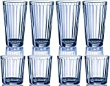 Circleware Blue Column Huge Set of 16 Blue Glass Drinking Glasses Set, 16 Piece Set, 8-17 Ounce and 8-13 Ounce DOF Coolers, Limited Edition Glassware Drinkware Drink Glass Cups
