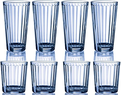 Circleware Sweden _ HUGE Set of 16 _ Glass Drinking Glasses Set, 8-15 Ounce and 8-9 Ounce Double Old Fashioned