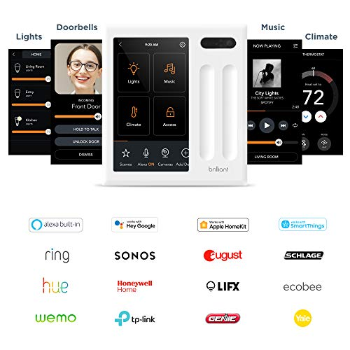 Brilliant Smart Home Control (2-Switch Panel) — Alexa Built-In & Compatible with Ring, Sonos, Hue, Google Nest, Wemo…