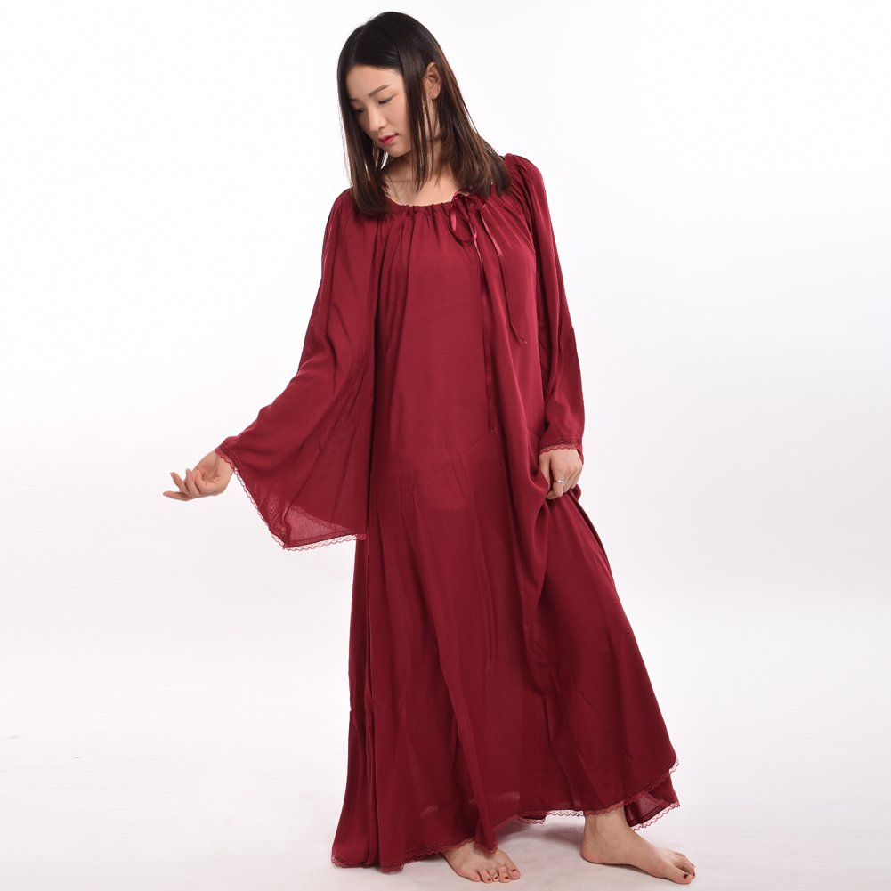 Medieval Women's Wine Red Lace Trimmed Bell Sleeve Chemise - DeluxeAdultCostumes.com