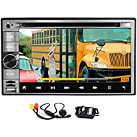 Quad Core Android 6.0 Car DVD Player GPS Navi Double 2 Din 6.2 inch for Universal Double 2 din Vehicles support Mirror Link Bluetooth 1080P Media Player Wifi + Front and Rear Camera