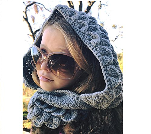 Milk protein cotton yarn handmade Dragon scale Hoodie and Cowl, Adult Size (Oatmeal)