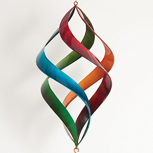 Bits and Pieces - Enameled Rainbow Wind Spinner - Beautiful Weather-Resistant Outdoor Lawn and Garden Décor ()