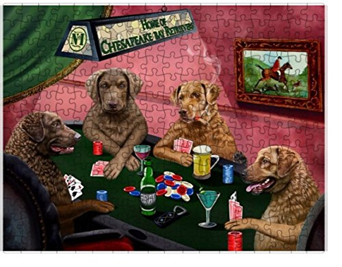 Home of Chesapeake Bay Retrievers 4 Dogs Playing Poker Puzzle with Photo Tin (252 pc.)