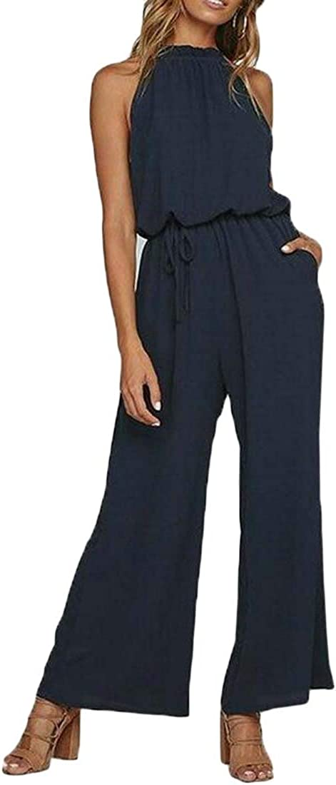 SHOWNO Women Pockets Sleeveless Loose Wide Leg Solid Color Jumpsuit Romper
