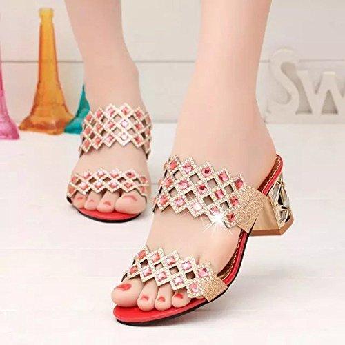 Pantofole Donna Tacco Novità red Ritaglio 37 Da Medio Fancy Sandali Xing Estate Coreano Strass Diamond Scarpe Guang Red 36 In Con qWt1xYC