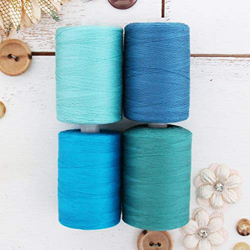 Teal Cotton Thread - Threadart 100% Cotton Thread Set | 4 Teal Tones | 1000M (1100 Yards) Spools | For Quilting & Sewing 50/3 Weight | Long Staple & Low Lint | Over 20 Other Sets Available