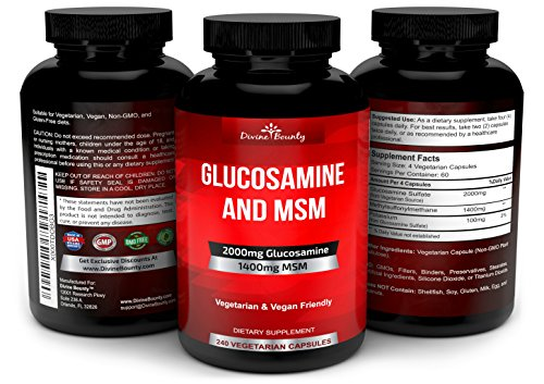 Glucosamine Sulfate Supplement (2000mg per serving) with MSM - 240 Small Vegetarian Capsules - No Shellfish, GMO's or Harmful Additives by Divine Bounty (Image #3)