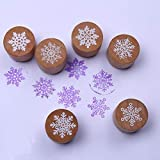 Hot! 6 Styles Snowflake Wood Stamp 3cmx3cmx2.5cm Size Used for Christmas Gift Decoration Wooden Rubber Stamp