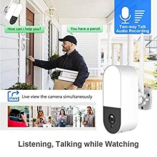 [2020 Newest] Floodlight Security Camera Outdoor Wireless,WESECUU 3MP WiFi Exterior Security Wall Light with 32GB TF Card,Two Way Talk,110db Siren Alarm and AI Human Detection,No Monthly Fee