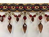 """4"""" Crystal Beaded Tassel Fringe Trim TF-32/33-7-17 Cranberry/Brown & Antq Gold (Sold by the yard)"""
