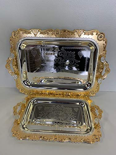 Luxury Linen Beautiful Decorative 2 Pieces Stainless Steel Tea & Coffee Serving Tray Gold/Silver Plated Serving Tray Rectangle Platter Glossy, Party Serving with Metal Handle (2208)